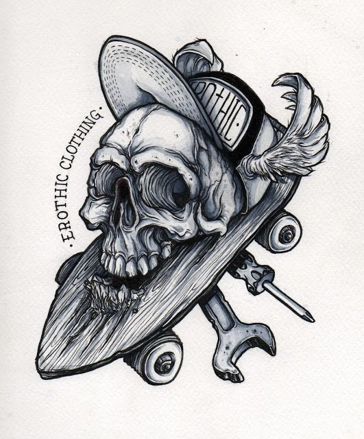 Oriol Torras Ilustracion: proceso dibujo calavera encima de skate