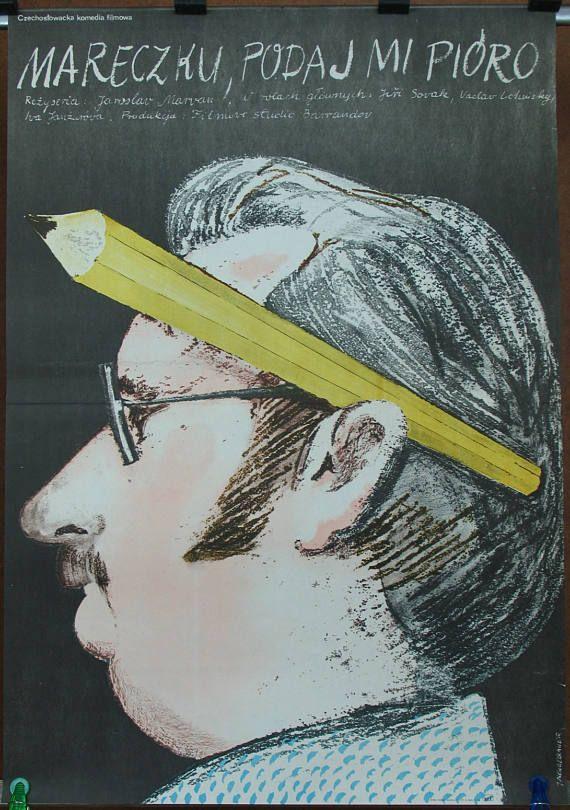 Poster. Czechoslovak 1976 film  Marecku Pass Me the Pen