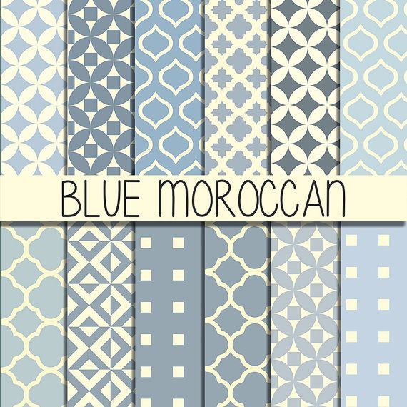 Moroccan tiles - Instant Download - Set of 12 Papers - 12x12 inch - Digital…