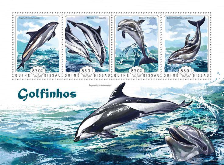 Post stamp Guinea-Bissau GB 14604 aDolphins (Lagenorhynchus acutus, {…}, Lagenoryhynchus obliquidens)