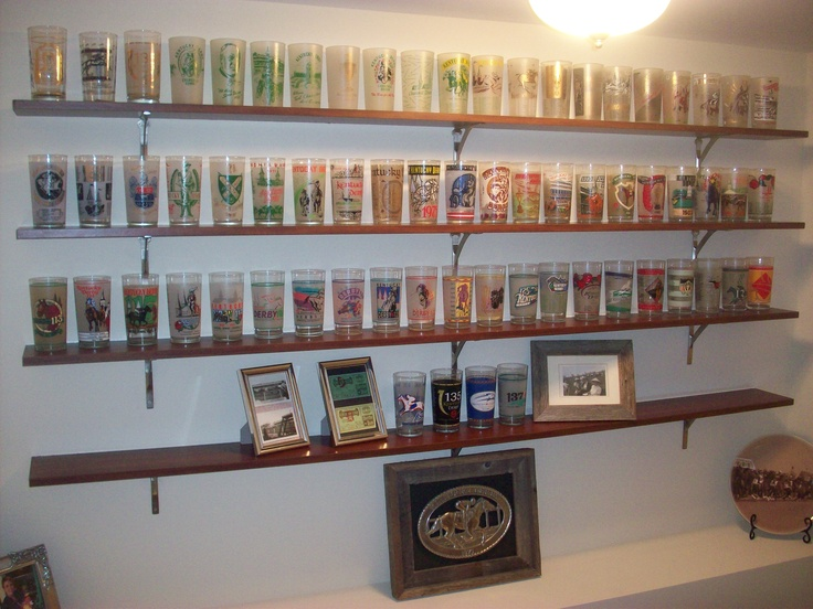 Kentucky Derby Glass Collection Classic Brass Shelf