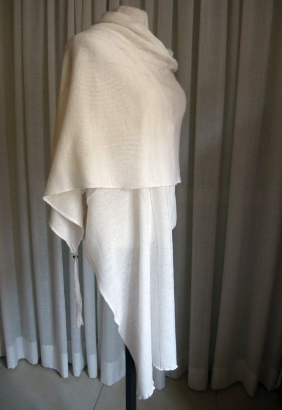 Ivory knit wool shawl/wrap with extra long beaded tassels, light weight