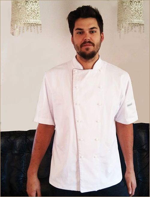 Keagan Schlunz won the 2014 award at Silwood School of Cookery for showing natural talent in the Kitchen. He is an upcoming chef to look out for. See him here in his customised Minted Ginger 100% Cotton Chef Jacket with silver piping which he was awarded with for his outstanding talent.