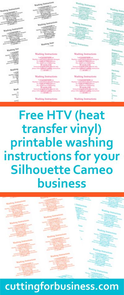Free, printable care cards (not food safe, HTV washing instructions, and not dishwasher safe) for your Silhouette Cameo business - by cuttingforbusiness.com