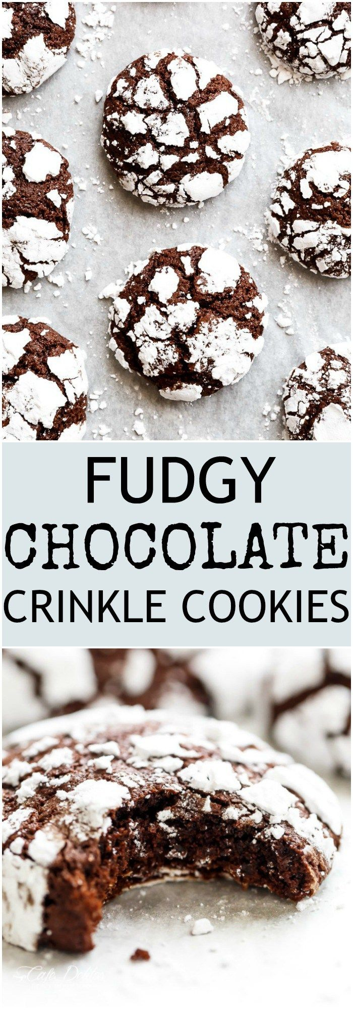 Fudgy Chocolate Crinkle Cookies have an irresistible brownie textured centre, with a crunch of cookie on the outside! One of our favourite Christmas cookies right here! ONLY 88 calories EACH! | https://cafedelites.com