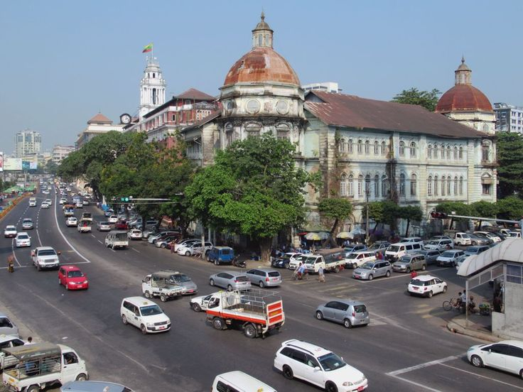 The Yangon Divisional Court Building (1900) on Strand Road in Yangon, Myanmar (Burma), was damaged during World War Two bombing but survives to this day.
