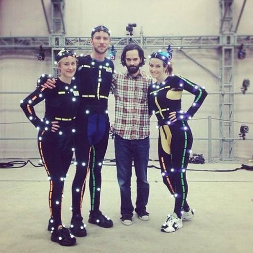 Ashley Johnson (Ellie), Troy Baker (Joel), Neil Druckmann, and Annie Wersching (Tess).