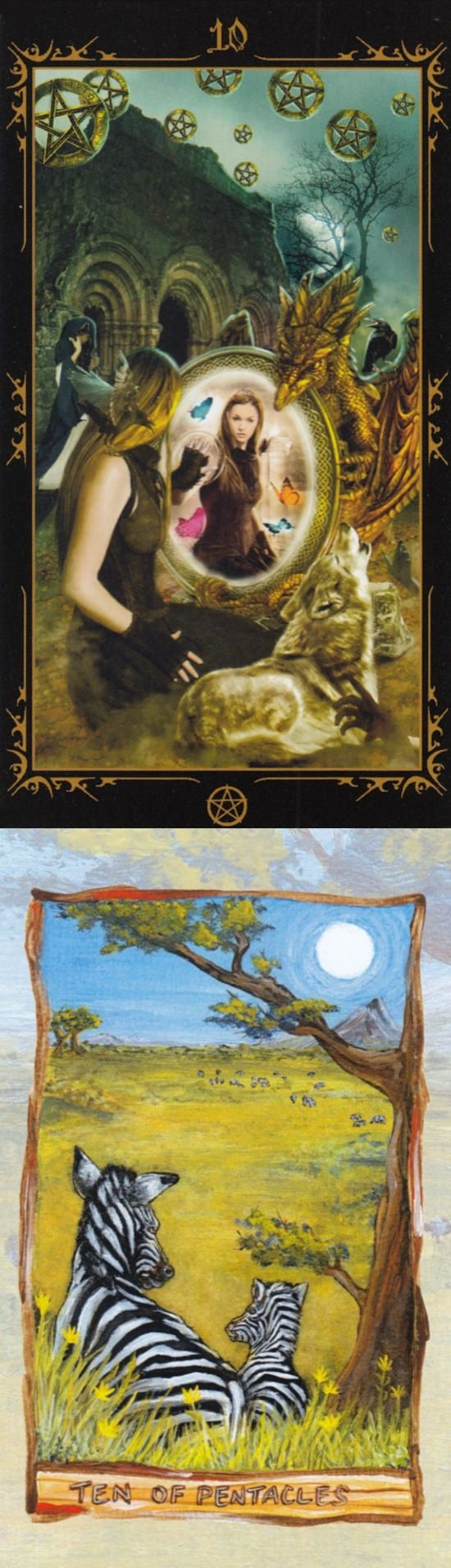 Ten of Pentacles: culmination of life's journeys and work and lack of stability and riches (reverse). Dark Fairytale Tarot deck and Animisim Tarot deck: carrot card, one card tarot and morgan greertarot. Best 2018 lenormand decks and ritual circle. #minorarcana #android #ios #android #witch