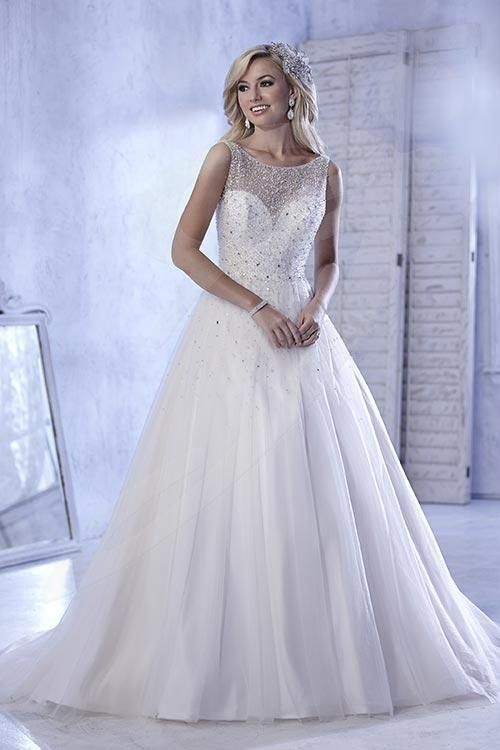 Balletts Bridal - 21806 - Wedding Gown by Jacquelin Bridals Canada - Stun your groom in this shimmering, stone-dusted tulle over satin ball gown, with rounded neckline and full tulle skirt.