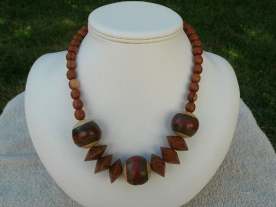 Vintage Wooden Bead Necklace   Brown with Layered by pauladjewelry, $14.00