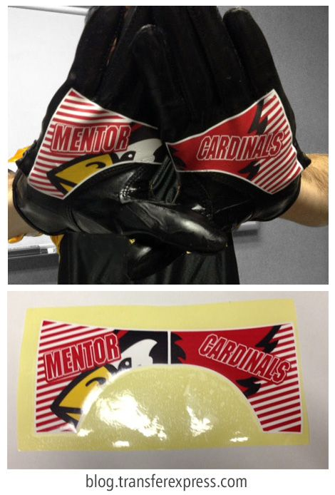 Learn how to decorate football gloves similar to these Cardinal catching glove with custom digital heat transfers. TransferExpress.com