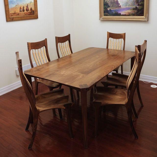 Bespoke Walnut & Birdseye Maple dining table and chairs - Designed ...