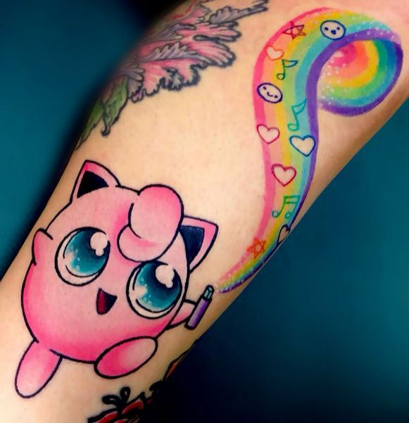 Super cute Pokemon Jigglypuff tattoo.