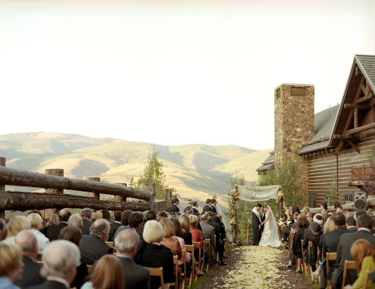 Outdoor Ceremony On The Skier Bridge At Ritz Carlton Bachelor Gulch