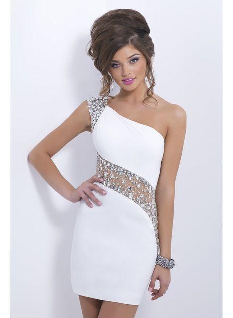 El un hombro atractivo 2014 nueva moda vestidos fiesta columna blanca vaina corta vestido de fiesta vestido de 15 anos curto
