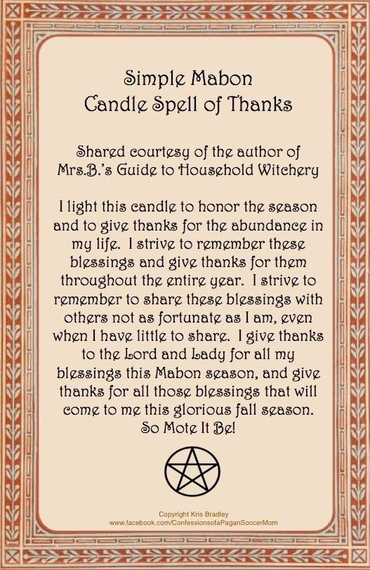 Mabon Candle Spell ~* True Equinox in Northern Hemisphere: Tuesday September 23rd @ 2;29 am. Enjoy and Mabon Blessings to all of you :))