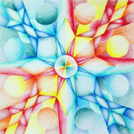 Colored Pencil, Geometric Radial Balance Tile Design w/ Gradation - Conway High School Art Project