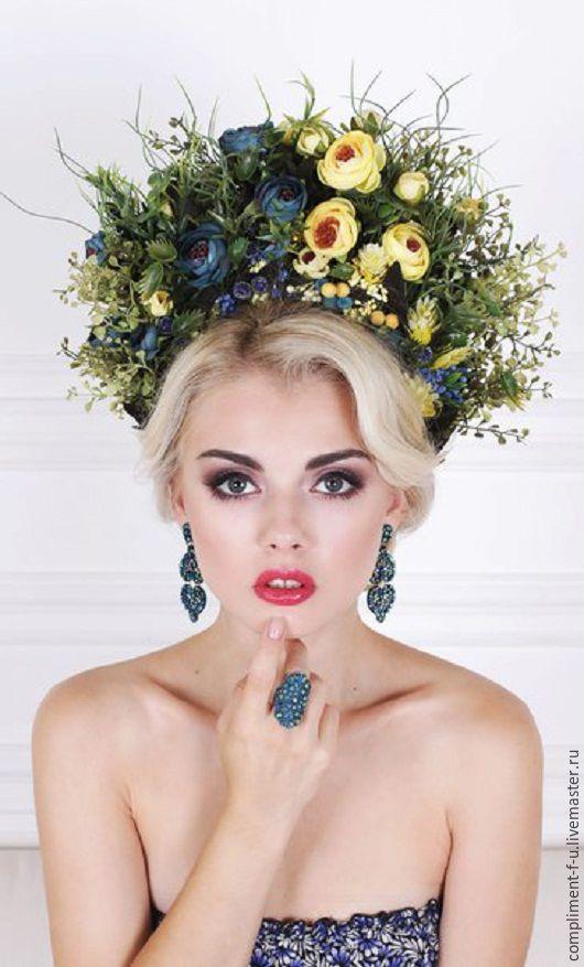 Купить Желто-синий венок - комбинированный, венок, венок из цветов, венок на голову, венок для невесты