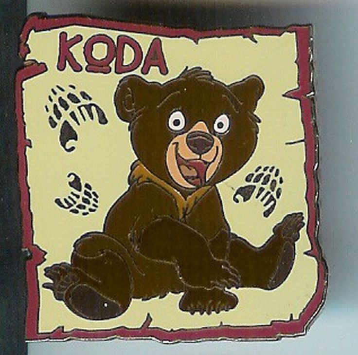 Darling pin of Brother Bear Koda - looks like he's been playing in the dirt and making paw prints all around him. This is an older pin from 2004 and is in excellent condition on the front, but the gold back has some discoloration. | eBay!