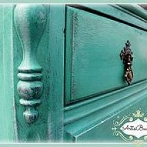 from BEAST to BEAUTY. Custom Sea Glass colored antique dresser redo