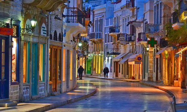 Evening walk in the streets of Syros