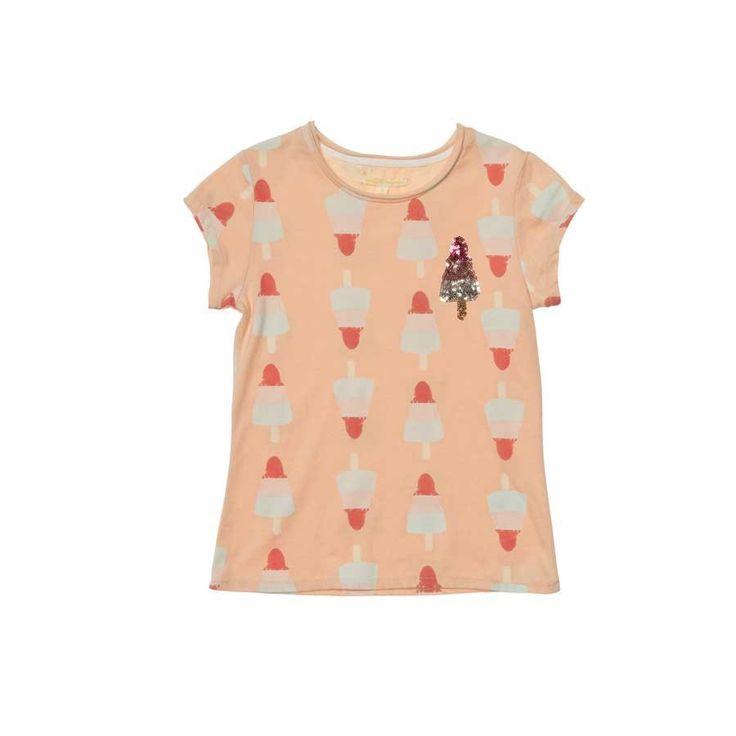 Het ouderwetse raket ijsje die lusten we allemaal toch! Je krijgt helemaal zin in de zomer van dit euke Brian and Nephew meisjes t-shirt.
