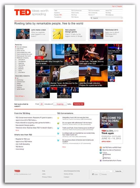 Ted.com Diseño: 5  Responsive: 0  Navegación: 5 Contenido: 4  Usabilidad: 5