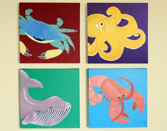 """""""Beach animals"""" for his room theme."""