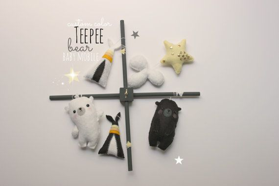 BABY CRIB MOBILE, tribal teepee, woodland nursery, gold star, black and white, modern baby mobile, hipster tribal