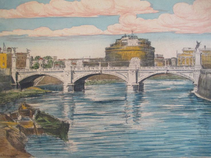 Bela Sziklay Listed Antique Vintage Cityscape Bridge River Boat Tinted Etching | eBay