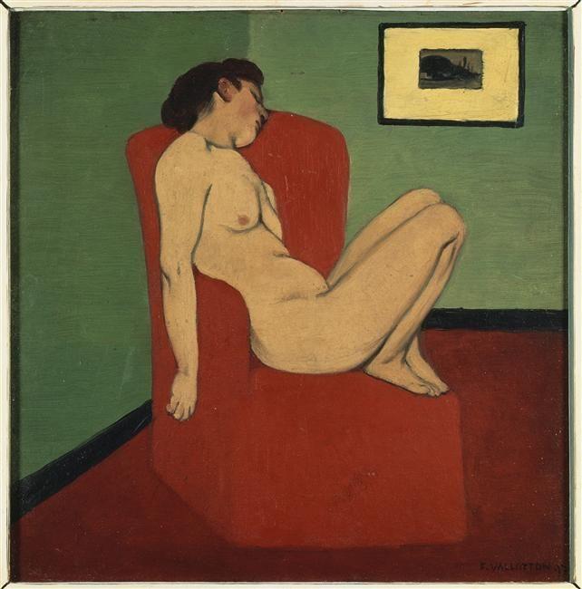 """""""Femme nue assise dans un fauteuil rouge"""" de Félix Vallotton (1865-1925). Grenoble, musée de Grenoble - Photo (C) RMN-Grand Palais / Jacques L'Hoir / Jean Popovitch"""