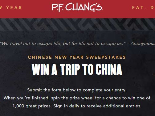 Enter the P.F. Chang's Chinese New Year Sweepstakes and Instant Win for your chance to win a 7-night trip for two to Shanghai, China!