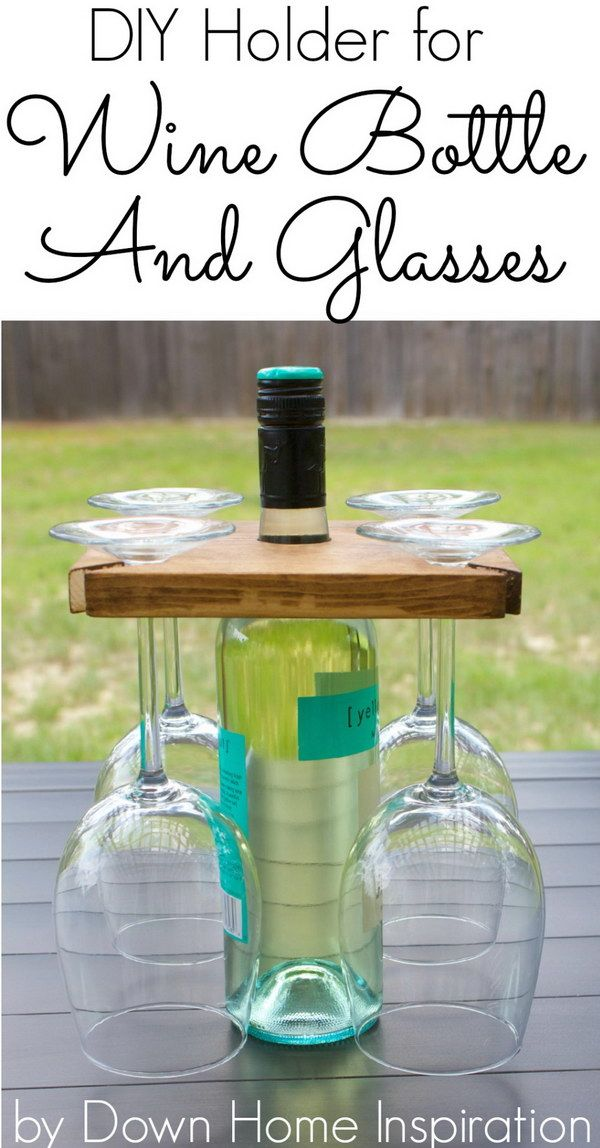 DIY Holder for a Wine Bottle and Glasses. This super simple DIY wine carrier really makes great holiday gift for hostess or wine lovers in your life!