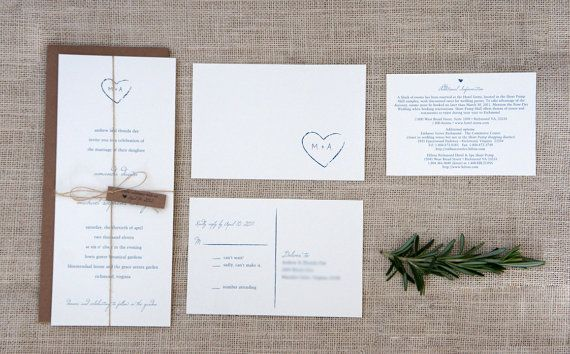 Rustic Wedding Invitation Deposit di AmandaDayRose su Etsy