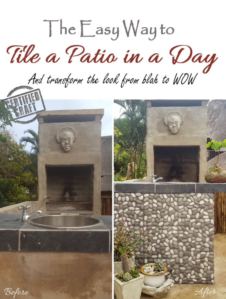 How to tile a patio wall to create interest and hide sloppy building mistakes - full tutorial on the blog