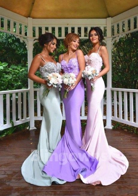 Sweep Sleeveless Ruched Spaghetti Straps Green Purple Pink Open Back Mermaid Satin Bridesmaid  Dresses