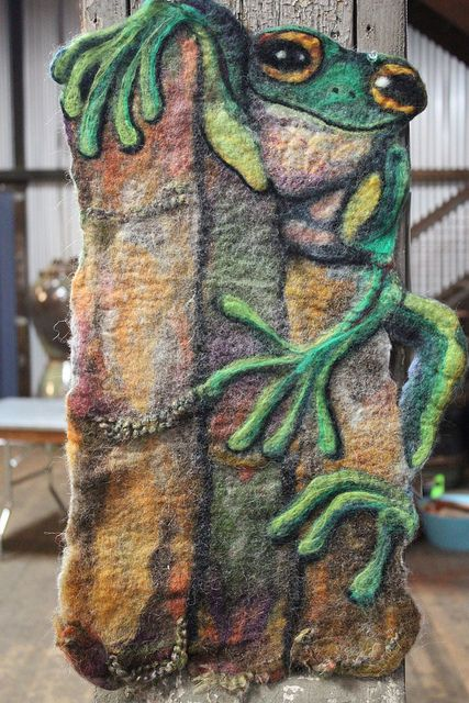 wet felted wall hanging
