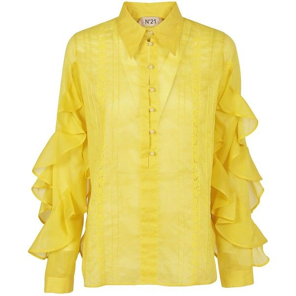 Ruffle Shirt (1,875 ILS) ❤ liked on Polyvore featuring tops, yellow, shirt top, ruffle shirt, ruffle top, ruffle collar top and yellow collared shirt