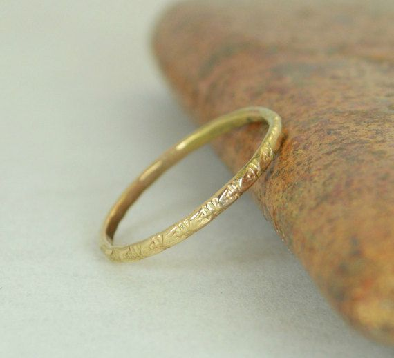 14k Gold Bohemian Ring Rustic Wedding Ring Heirloom by Alaridesign