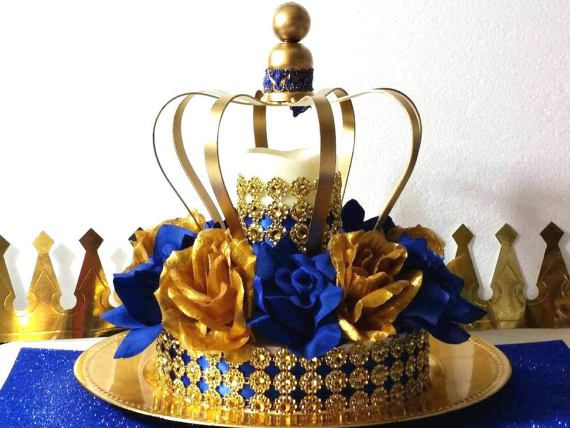 NEW Royal Prince Baby Shower CROWN Centerpiece / Boys Royal Blue And Gold  Baby Shower Theme And Decorations