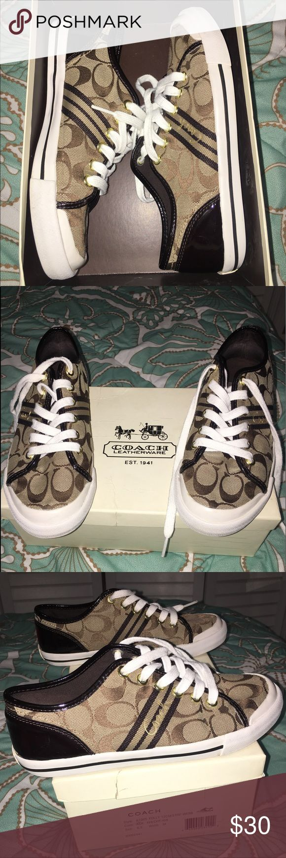 Coach tennis shoes In good condition hardly worn. Cleaned shoes and box is included Coach Shoes Sneakers