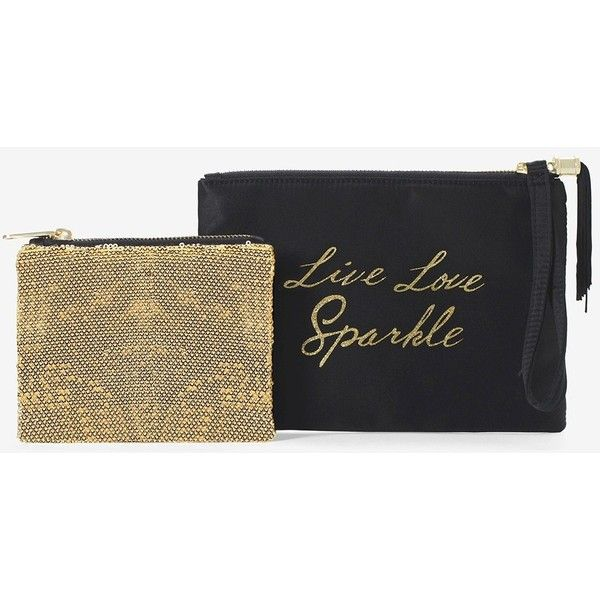 White House Black Market Black & Gold Double Pouch ($20) ❤ liked on Polyvore featuring bags, handbags, clutches, handbag & wallet accessories, pouch bag, zip pouch bags, gold pouch, gold sequin bag and sparkly bag