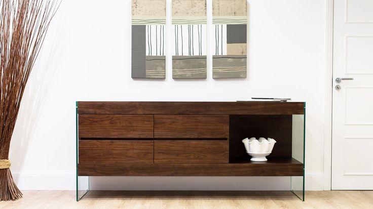 Aria Glass and Espresso Dark Wood Sideboard £539.00