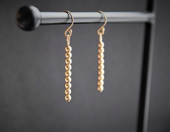 Pendant gold bar earrings. Gold filled beads earrings. Pendant gold beads earrings. Long gold filled earrings. pease
