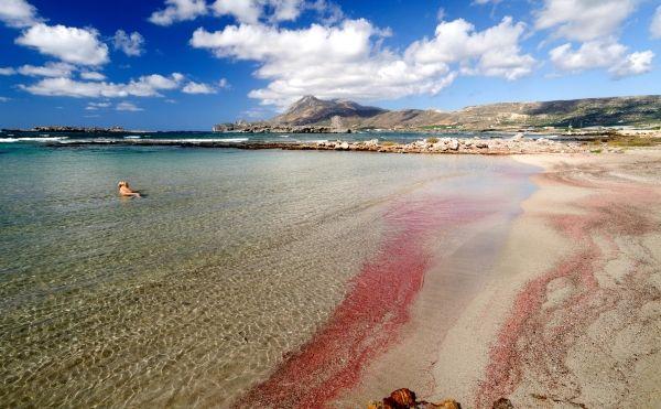 Beach with pink sand near Falassarna, western Crete