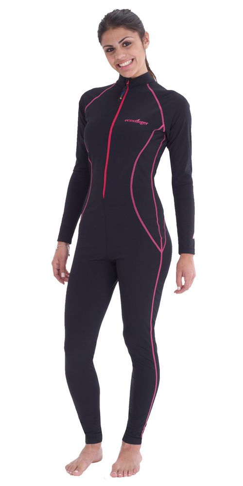 FULL BODY SUN PROTECTIVE SWIM SUIT UPF50+ BLACK PINK STITCH FOR WOMEN #ECOSTINGER #Swimdress