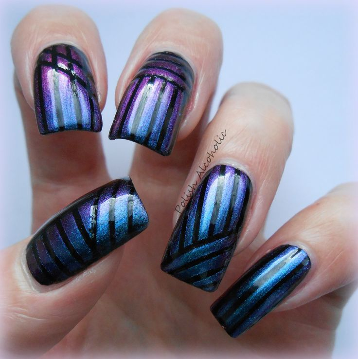 Striping Tape Nail Art Tutorial: 51 Best Images About Cool Blue Nail Designs On Pinterest