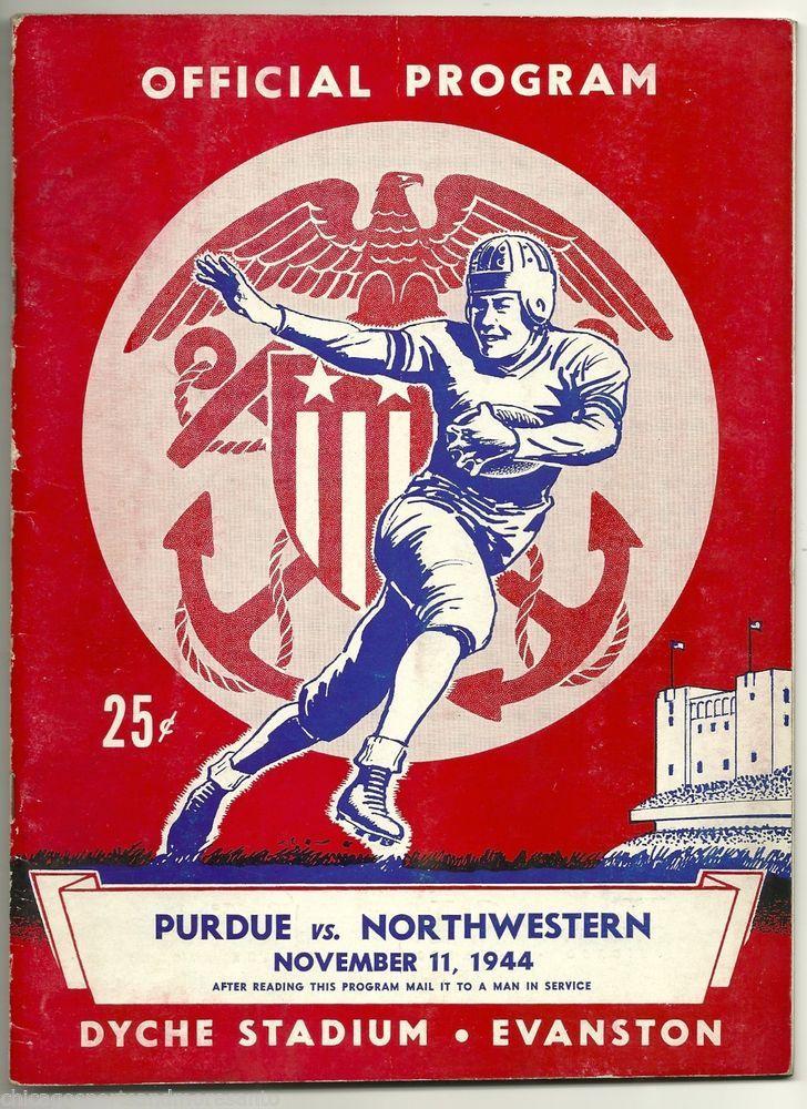 SOLD - 1944 University of Northwestern Wildcats Football Program vs. Purdue , at Dyche #NorthwesternWildcats