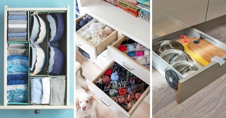Vous cherchez des idées et des astuces pour le rangement de vos tiroirs ? Copiez ces 17 idées pour des tiroirs bien rangés et bien organisés !