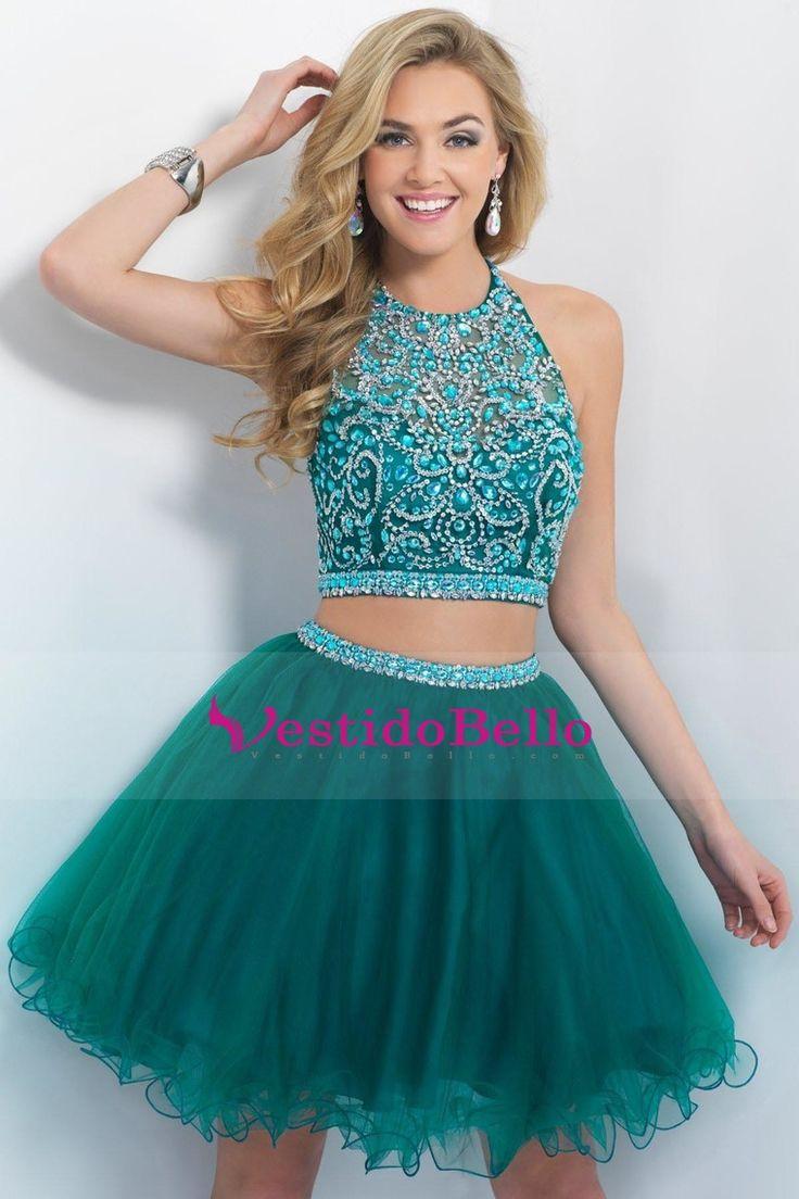 2015 cabestro Vestidos de Fiesta de dos piezas Corto / Mini con cuentas blusa de tul